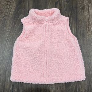 Carter's Baby Girls Pink Sherpa Like Zip Up Vest